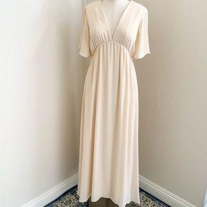 PinkBlush Beige Chiffon Bell Sleeve Maxi Dress